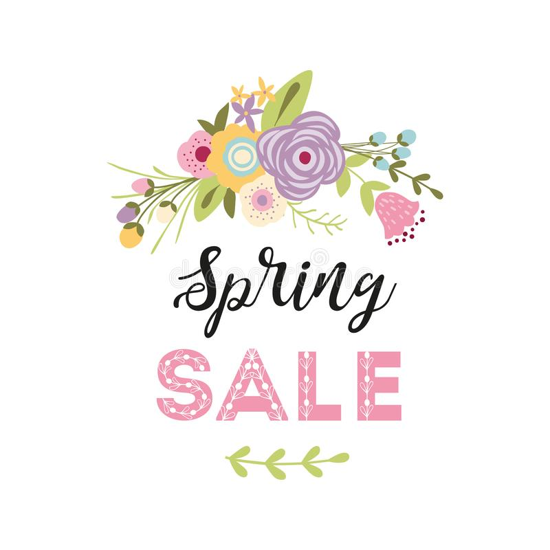 Insegna di vendita della primavera con il mazzo floreale sveglio di colori verdi di rosa del fiore della primavera di progettazio illustrazione di stock