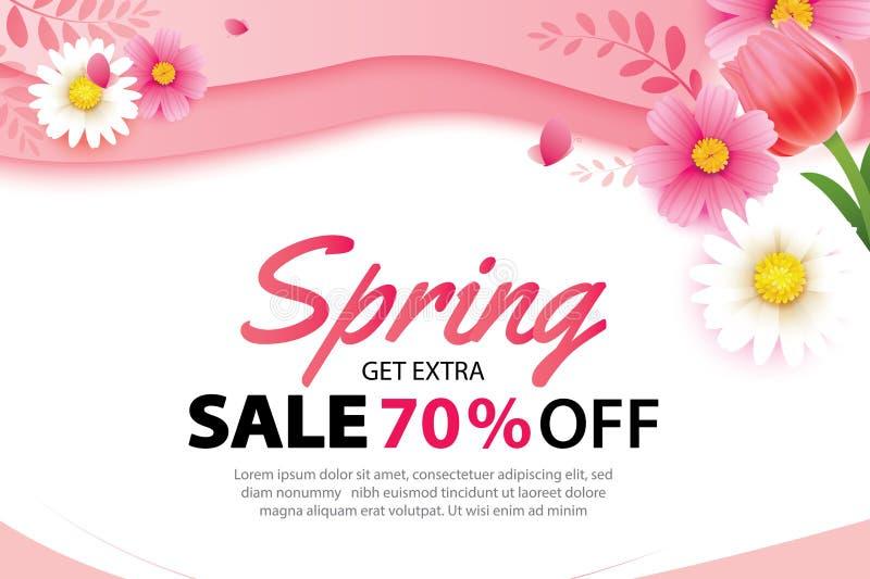 Insegna di vendita della primavera con il modello di fioritura del fondo dei fiori Progettazione per la pubblicità, alette di fil illustrazione di stock