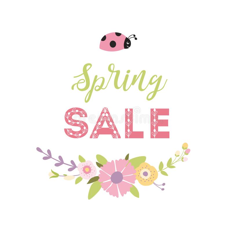 Insegna di vendita della primavera con la coccinella floreale sveglia della corona Colori verdi di rosa del fiore della primavera royalty illustrazione gratis