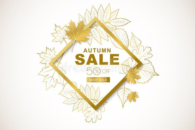 Insegna di vendita di autunno con le foglie di autunno dorate isolate del profilo dell'oro e della struttura Fondo del manifesto  royalty illustrazione gratis
