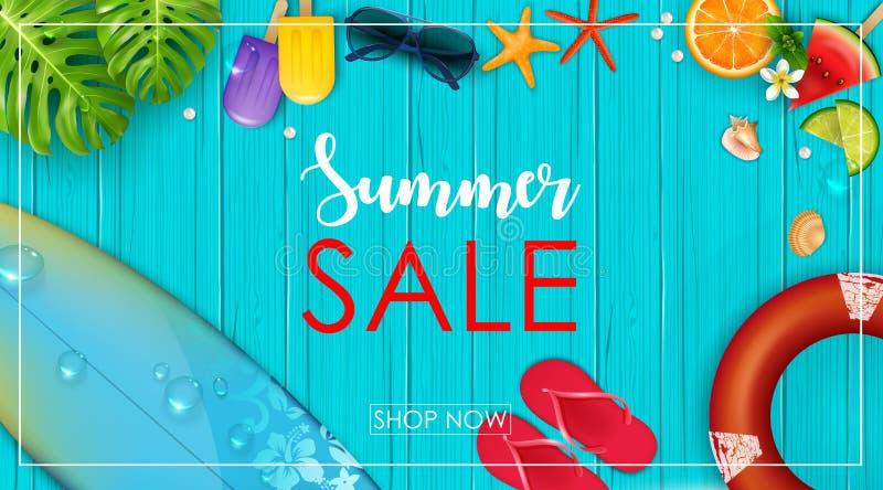 Insegna di vendita di estate illustrazione di stock