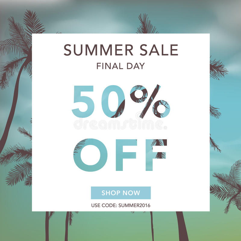 Insegna di vendita di estate Fondo di vendita Priorità bassa tropicale illustrazione vettoriale