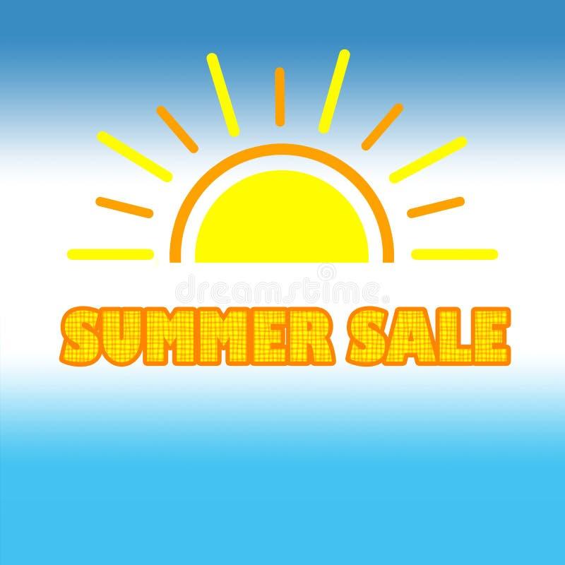 Insegna di vendita di estate per la promozione su fondo blu bianco illustrazione vettoriale
