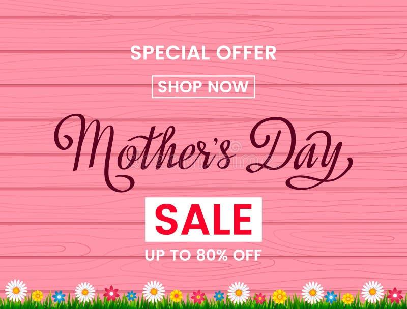 Insegna di vendita di festa della Mamma su un fondo di legno rosa con i wildflowers Vettore illustrazione di stock