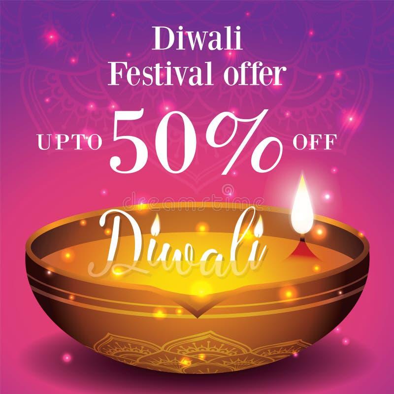 Insegna di vendita di festival di Diwali e fondo del manifesto royalty illustrazione gratis