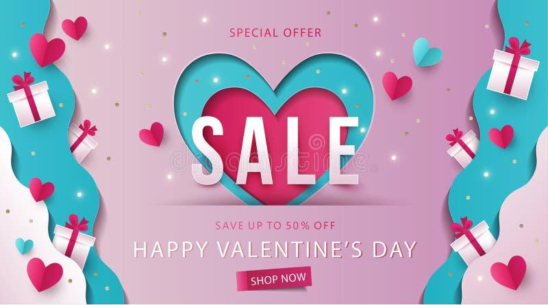 Insegna di vendita di giorno di biglietti di S. Valentino illustrazione vettoriale