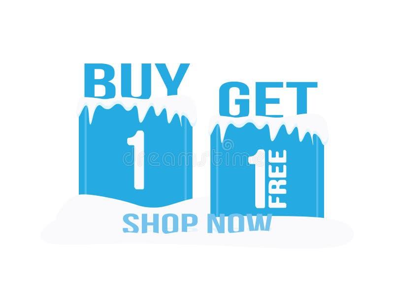 Insegna di vendita di inverno, del negozio icona ora L'affare uno ottiene uno liberi, i cubetti di ghiaccio e la neve royalty illustrazione gratis
