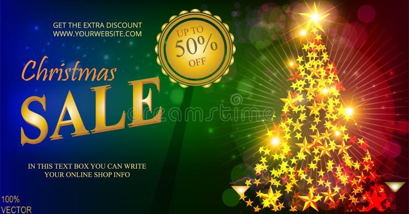 Insegna di vendita di Natale, bokeh scintillante delle luci con l'abete di Natale e stelle dorate Manifesti di Natale, carte, sit illustrazione di stock