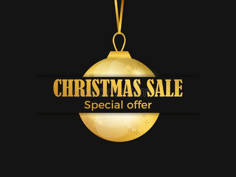 Insegna di vendita di Natale con la palla dorata di natale su fondo nero Pendenza dell'oro Modello di progettazione della cartoli royalty illustrazione gratis