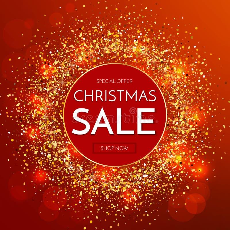 Insegna di vendita di Natale Frase di vendita di Natale su fondo rosso di scintillio royalty illustrazione gratis