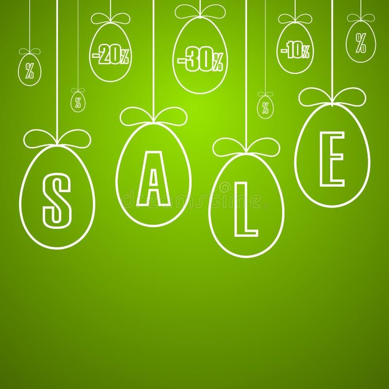 Insegna di vendita di Pasqua Uova d'attaccatura di Pasqua, arco del nastro del fumetto, fondo verde Modello dell'etichetta per la illustrazione di stock