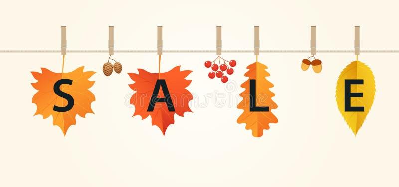 Insegna di vendite di autunno con le foglie sulla corda Composizione di autunno di rosso, arancia e foglie, ghiande, viburno e pi royalty illustrazione gratis