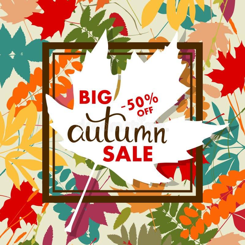 Insegna di vendite con le foglie di autunno multicolori Vettore illustrazione vettoriale