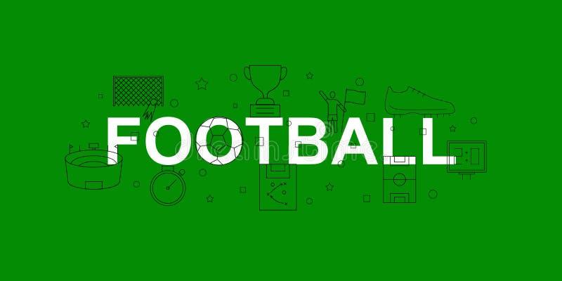 Insegna di vettore di calcio Parola con la linea icona Fondo di vettore royalty illustrazione gratis