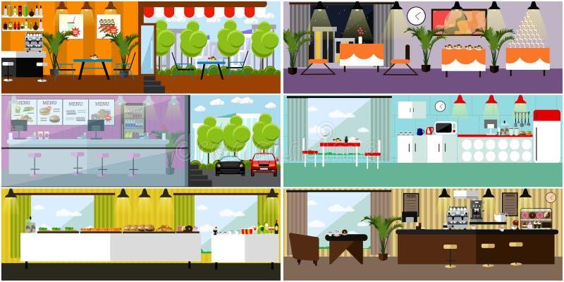 Insegna di vettore con gli interni del ristorante Cucina, sala da pranzo, caffè, alimenti a rapida preparazione Illustrazione nel illustrazione di stock