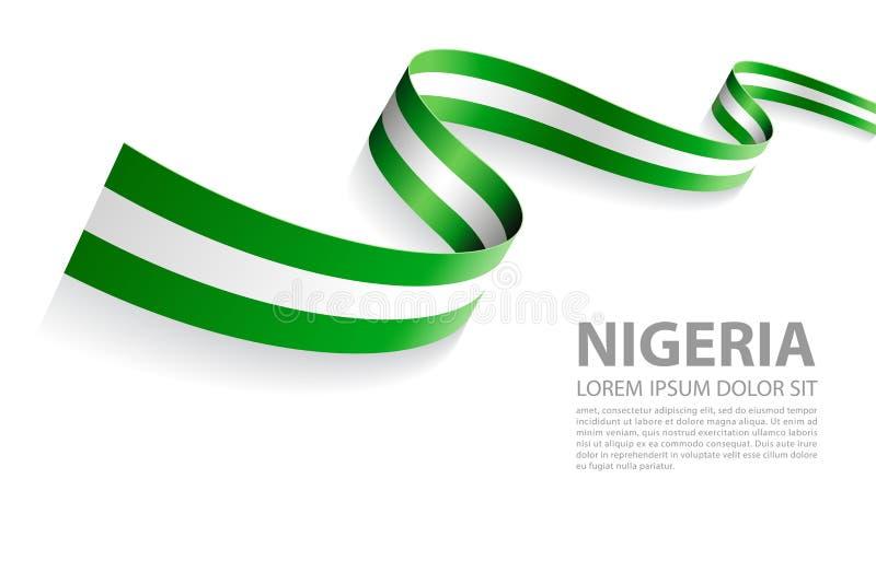Insegna di vettore con i colori della bandiera della Nigeria illustrazione vettoriale