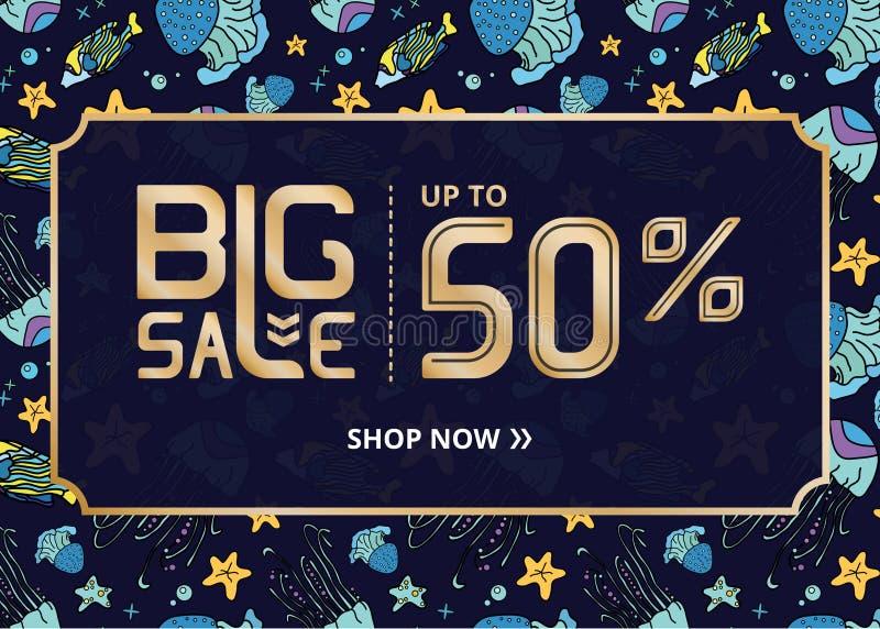Insegna di vettore con oro ora che segna grande vendita con lettere un negozio di fino a cinquanta per cento e meduse blu royalty illustrazione gratis