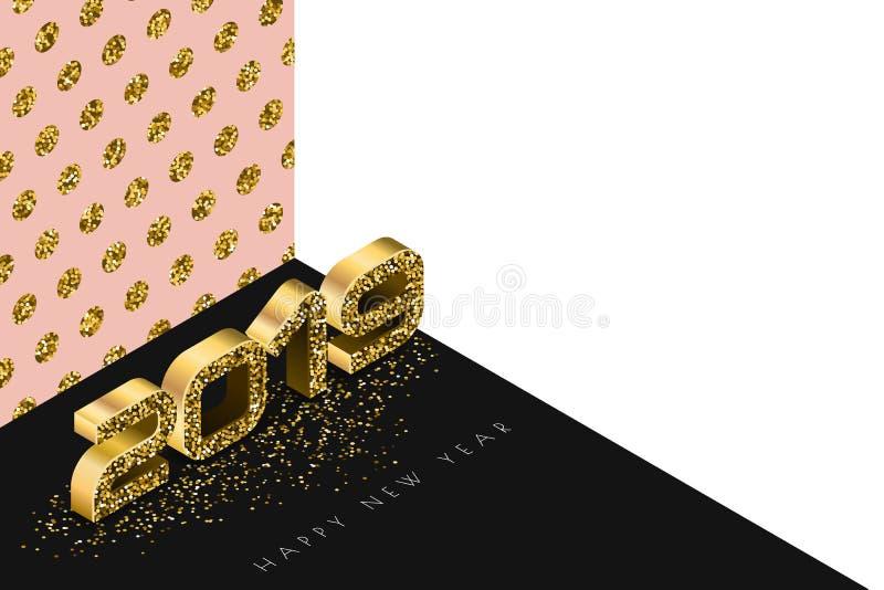 Insegna di vettore del buon anno 2019 con i numeri dorati nello stile isometrico 3d Fondo astratto dell'oro di festa illustrazione vettoriale