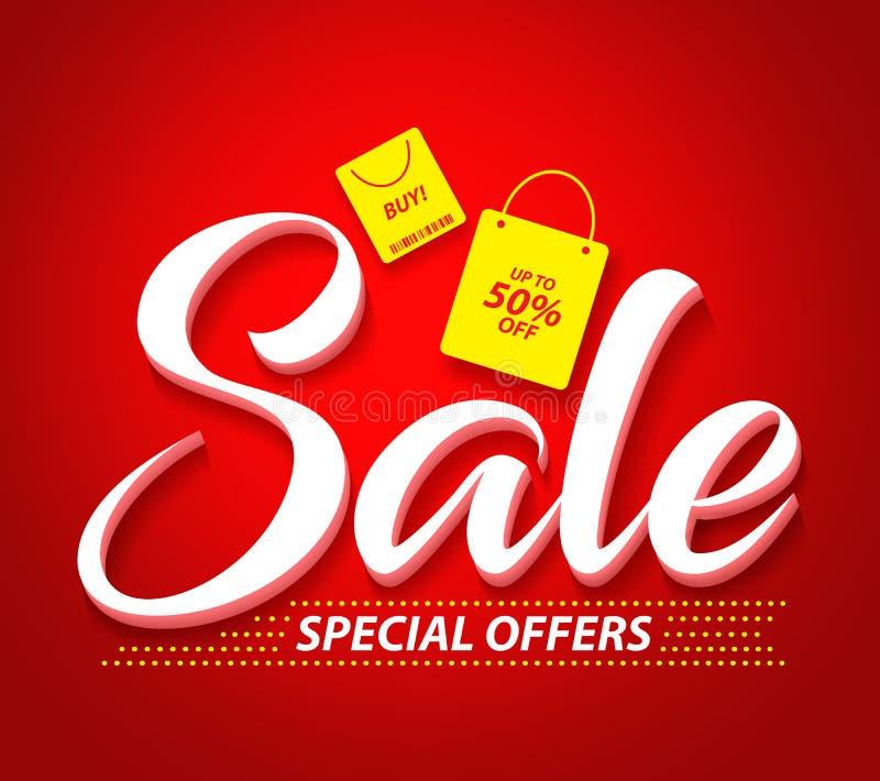 Insegna di vettore di vendita con le offerte speciali testo e sacchetti della spesa illustrazione di stock
