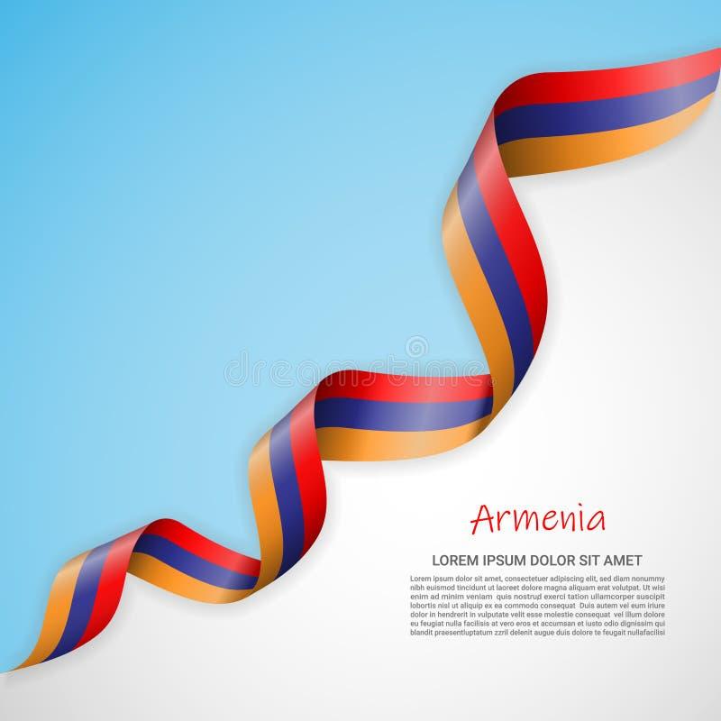 Insegna di vettore nei colori bianchi e blu e nastro d'ondeggiamento con la bandiera dell'Armenia Modello per progettazione del m illustrazione vettoriale