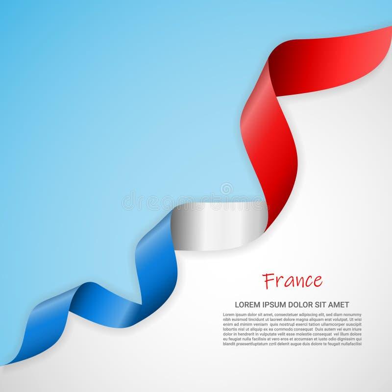 Insegna di vettore nei colori bianchi e blu e nastro d'ondeggiamento con la bandiera della Francia Modello per progettazione del  royalty illustrazione gratis