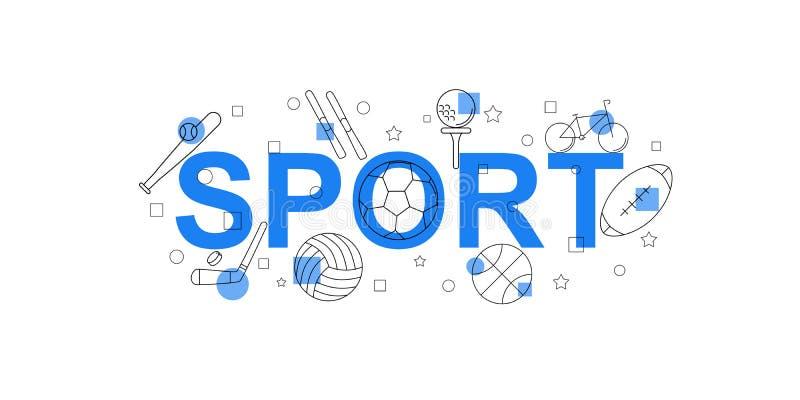 Insegna di vettore di sport Parola con la linea icona illustrazione di stock