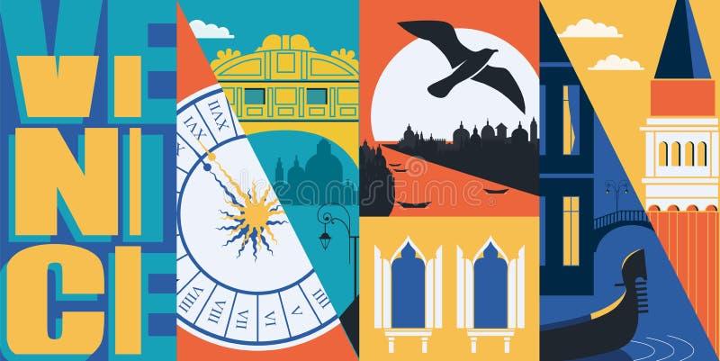 Insegna di vettore di Venezia, Italia, illustrazione Orizzonte della citt?, canal grande, San Marco illustrazione di stock