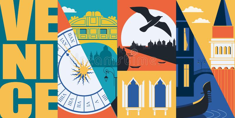 Insegna di vettore di Venezia, Italia, illustrazione Viste della città, costruzioni storiche illustrazione vettoriale