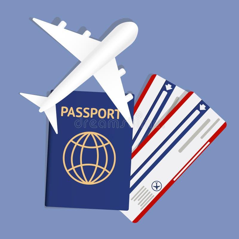 Insegna di viaggio æreo con il passaporto - progettazione di massima di vacanza Insegna con i biglietti di vacanza e dell'aeropla illustrazione di stock