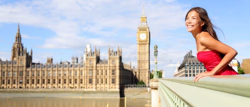 Insegna di viaggio di Londra Inghilterra - donna e Big Ben immagine stock libera da diritti