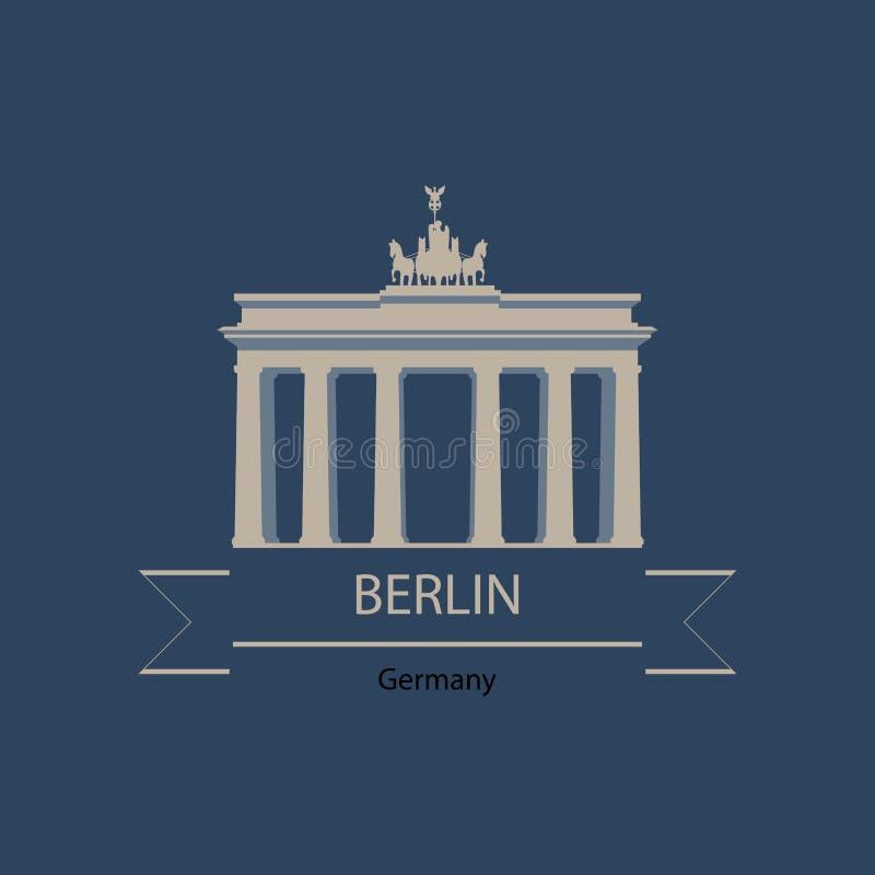 Insegna di viaggio o logo di Berlino e della Germania con i punti di riferimento royalty illustrazione gratis