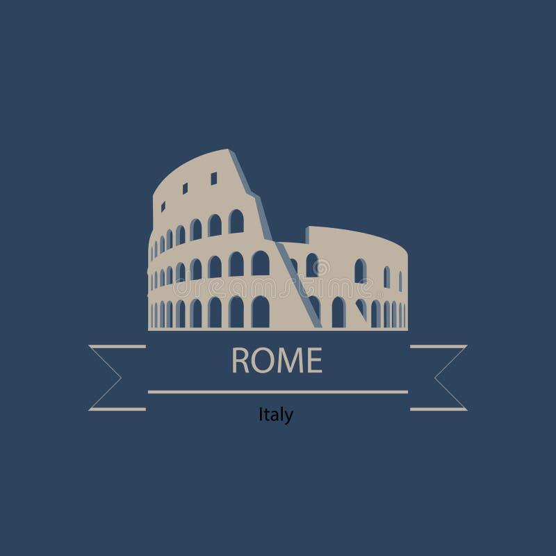 Insegna di viaggio o logo del punto di riferimento dell'Italia e di Roma con il Colise royalty illustrazione gratis