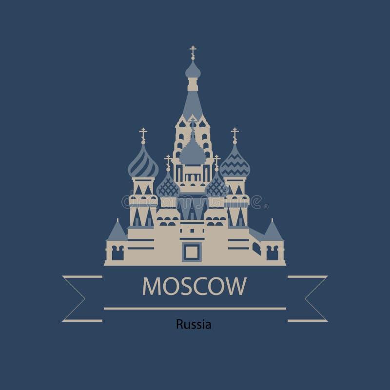 Insegna di viaggio o logo di Mosca e della Russia con i punti di riferimento illustrazione vettoriale