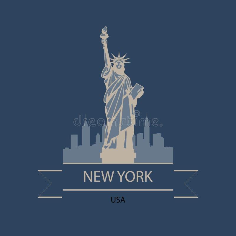 Insegna di viaggio o logo di New York e di U.S.A. con la statua del movimento di liberazione royalty illustrazione gratis