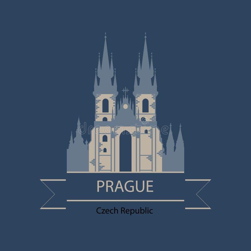Insegna di viaggio o logo di Praga e della repubblica Ceca con il punto di riferimento royalty illustrazione gratis