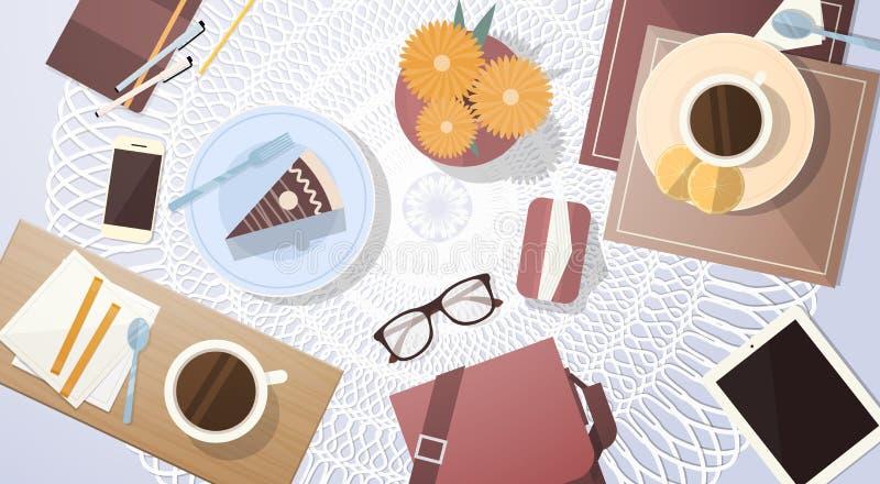 Insegna di vista di angolo del piano d'appoggio del dolce della tazza di caffè della rottura illustrazione vettoriale