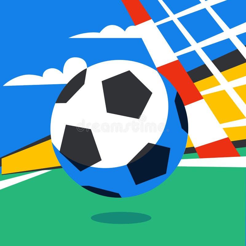Insegna di web di calcio Gioco in tensione della corrente Palla di calcio nei precedenti dello stadio pena Vettore di colore pien royalty illustrazione gratis