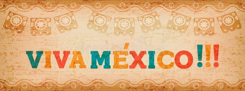 Insegna di web di citazione di Viva Messico per l'evento di festa royalty illustrazione gratis