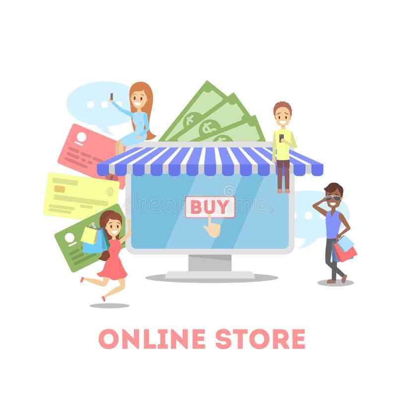 Insegna di web di commercio elettronico Compera online e mobile illustrazione di stock
