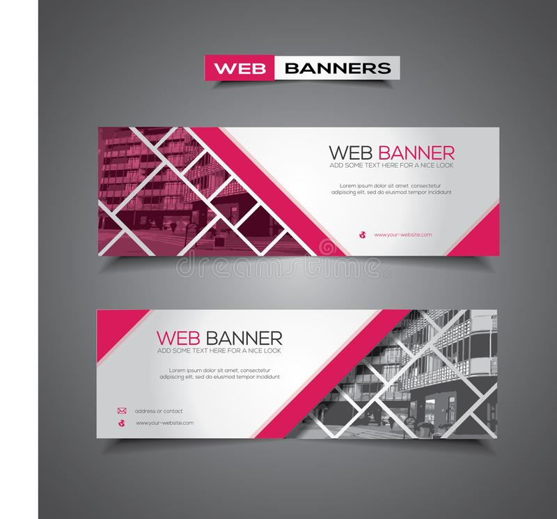 Insegna di web con progettazione, il rosa ed il bianco astratti di vettore fotografia stock