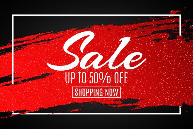 Insegna di web da vendere Linea rossa di lerciume con gli scintilli nel telaio Priorità bassa nera Grandi sconti Offerta speciale illustrazione di stock