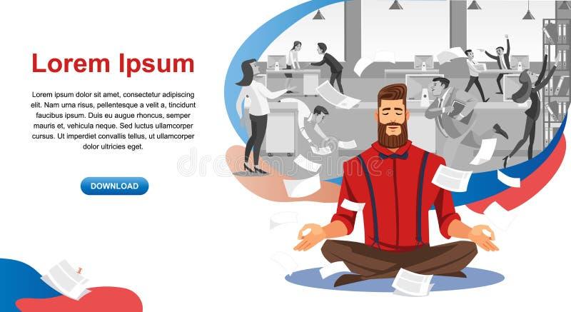 Insegna di web del fumetto di corso di resistenza di stress da lavoro illustrazione di stock