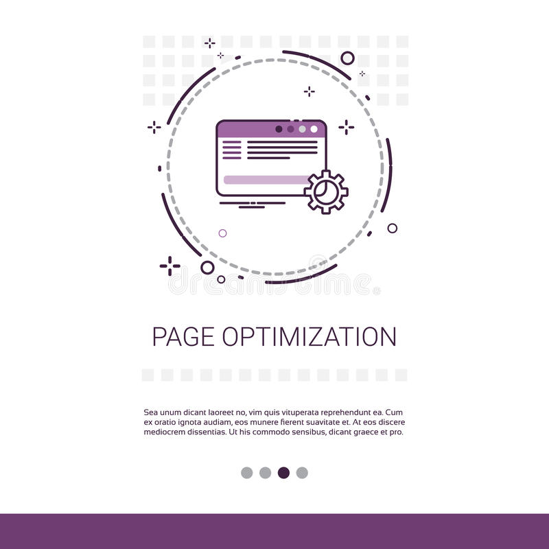 Insegna di web di content management di ottimizzazione della pagina con lo spazio della copia illustrazione di stock