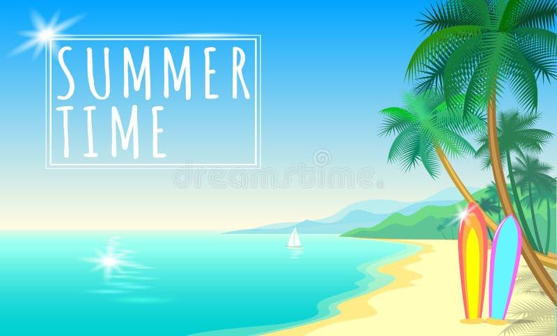 Insegna di web di Palm Beach del mare di estate Insabbi il crogiolo caldo di bordi di spuma del giorno del sunshite dell'onda di  illustrazione vettoriale