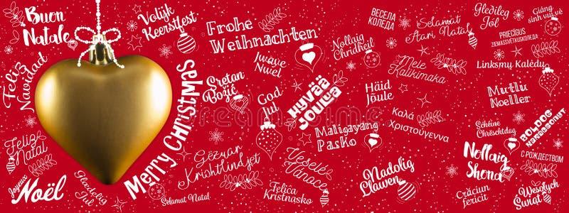 Insegna di web di saluti di Buon Natale dal mondo nella lan differente illustrazione vettoriale
