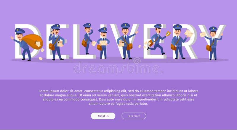 Insegna di web di servizio di distribuzione con il postino del fumetto royalty illustrazione gratis
