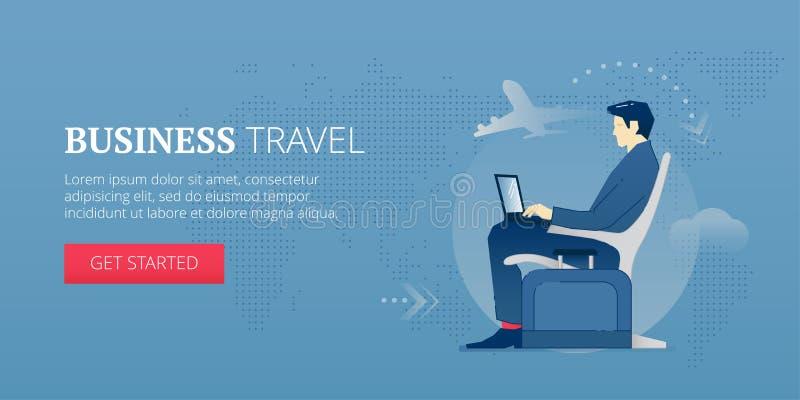 Insegna di web di viaggio d'affari illustrazione di stock
