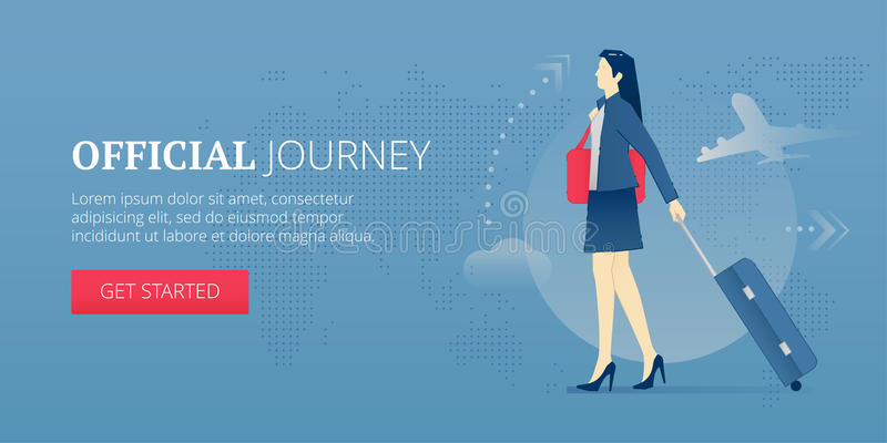 Insegna di web di viaggio ufficiale illustrazione di stock