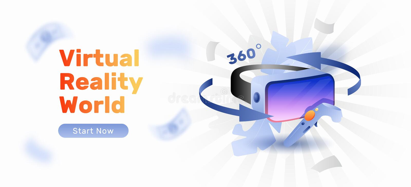 Insegna di web di gioco di VR illustrazione vettoriale