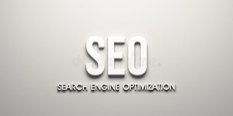 Insegna di web di SEO 3d rendono l'illustrazione illustrazione di stock